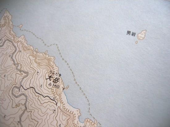 大岳の山裾にある細い道(黒線)