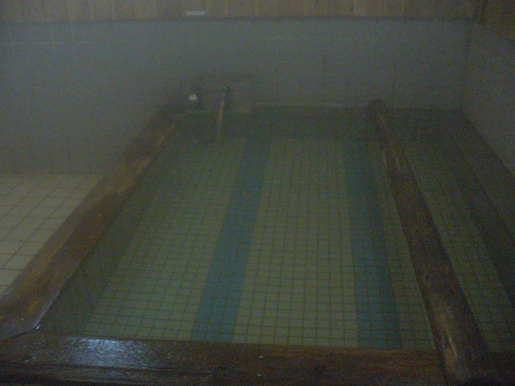 こちらの浴槽は、浅めのぬる湯。思わず寝てしまいそうになる……。