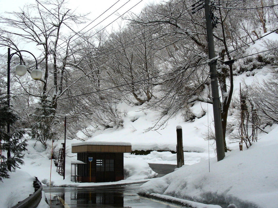 栃尾又温泉のバス停。もちろん終点です♪