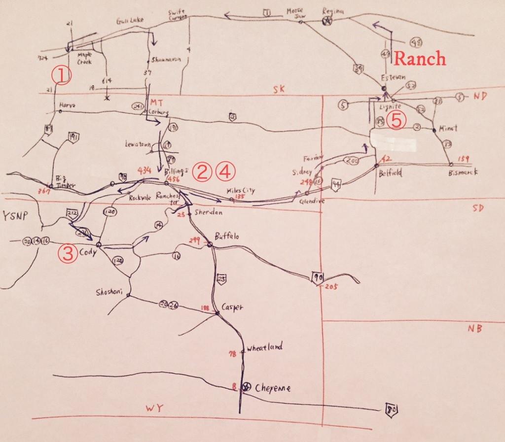 僕はロードトリップの際は、運転しながら地図をめくりたくないので、いつも手描きの地図を一枚作る。