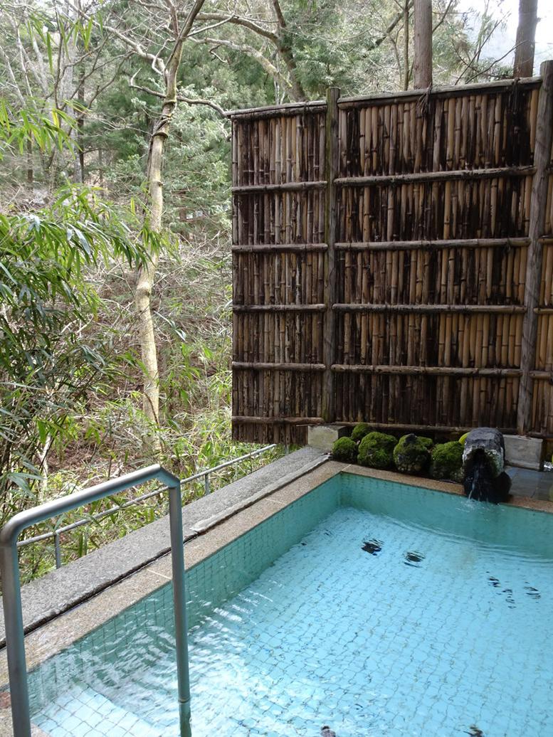 女湯の露天風呂。野鳥の声を聴きながら湯浴み♪
